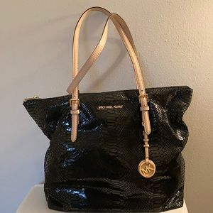 Michael Kors Black Snake Skin Jet Set Tote Bag